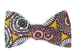 Le Coq en Pap' - Noeud papillon jaune safran wax rosace