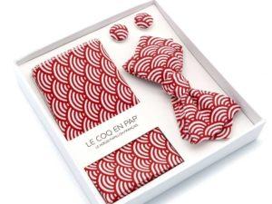 Le Coq en Pap' - Coffret noeud papillon rouge cardinal japonais seigaiha