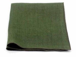 Le Coq en Pap' - Pochette de costume vert kaki uni en lin