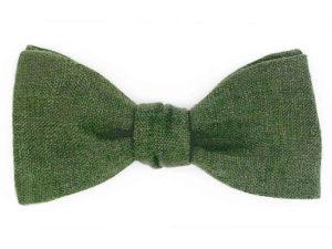 Le Coq en Pap' - Noeud papillon vert kaki uni en lin