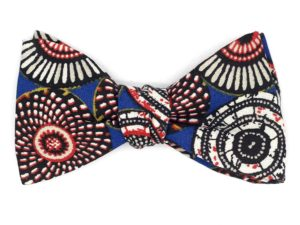 Le Coq en Pap' - Noeud papillon bleu saphir wax rosace