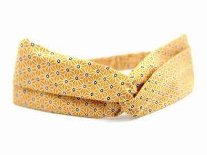 Le Coq en Pap' - Bandeau turban jaune moutarde japonais saki