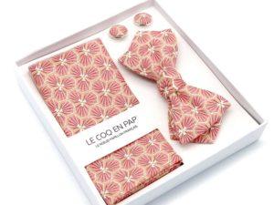 Le Coq en Pap' - Coffret noeud papillon rose corail japonais kikko