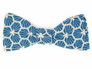 Le Coq en Pap' - Noeud papillon bleu pétrole japonais kikko