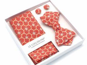 Le Coq en Pap' - Coffret noeud papillon rouge corail japonais kikko