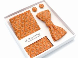 Le Coq en Pap' - Coffret noeud papillon orange tangerine japonais saki