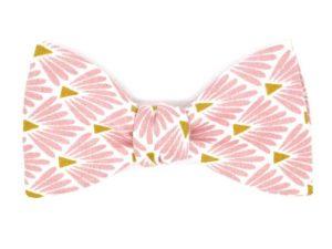 Le Coq en Pap' - Noeud papillon rose marshmallow japonais leafy