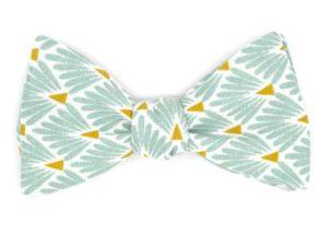 Le Coq en Pap' - Noeud papillon vert opaline japonais leafy