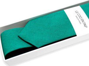 Le Coq en Pap' - Cravate vert sapin unie en lin