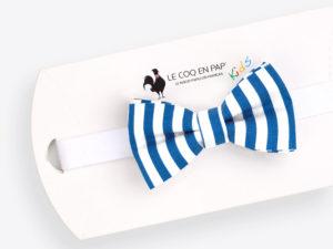 Le Coq en Pap' - Noeud papillon enfant bleu et blanc rayé marin