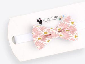 Le Coq en Pap' - Noeud papillon enfant rose marshmallow japonais leafy
