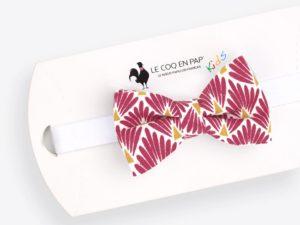 Le Coq en Pap' - Noeud papillon enfant rouge amarante japonais leafy