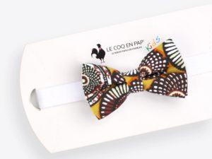 Le Coq en Pap' - Noeud papillon enfant jaune safran wax rosace
