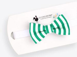 Le Coq en Pap' - Noeud papillon enfant vert et blanc rayé marin