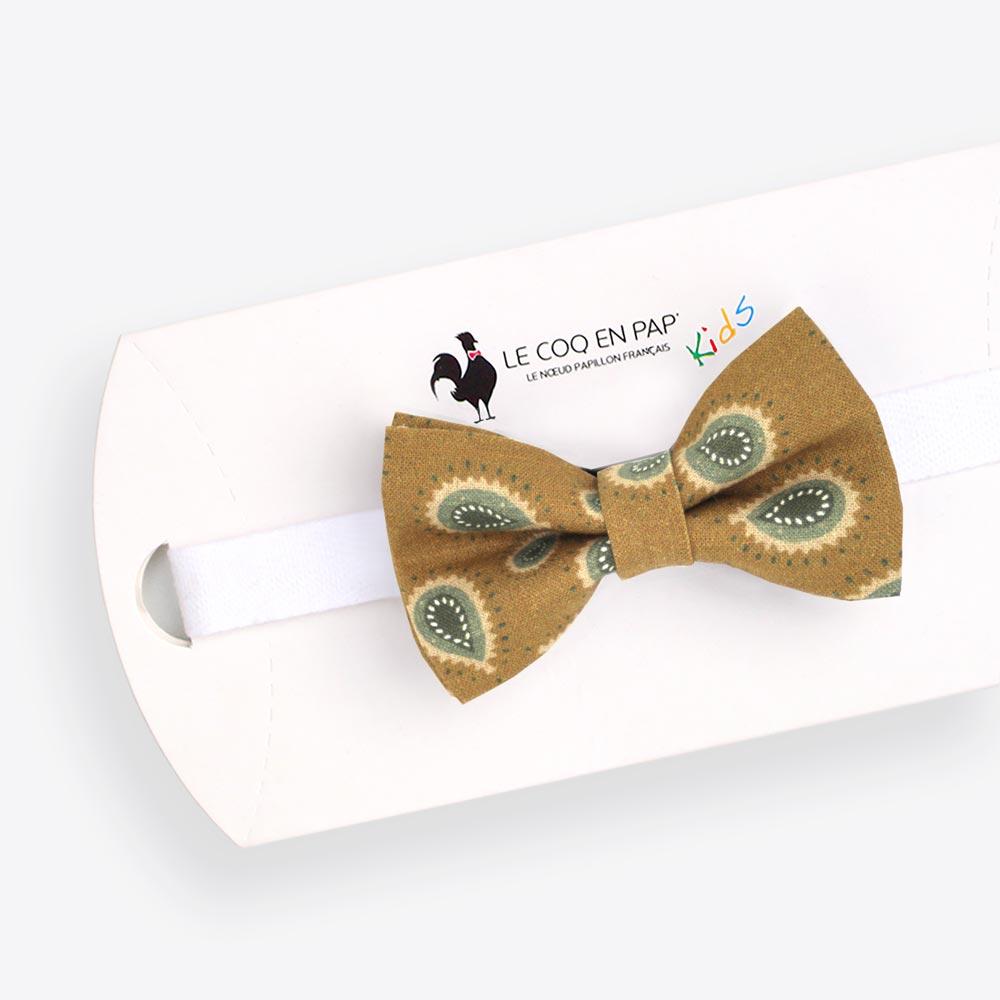 design exquis dernière collection 2019 real Noeud papillon enfant vert olive paisley