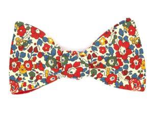 Le Coq en Pap' - Noeud papillon fleuri liberty betsy ann b