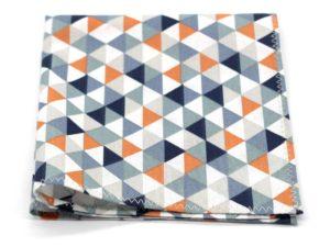 Le Coq en Pap' - Pochette de costume orange bleu pourpre trimix