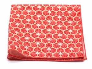 Le Coq en Pap' - Pochette de costume rouge corail japonais kikko
