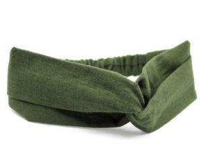 Le Coq en Pap' - Bandeau turban vert kaki uni en lin
