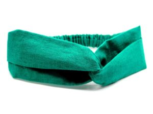 Le Coq en Pap' - Bandeau turban vert sapin uni en lin