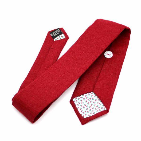 Le Coq en Pap' - Cravate rouge grenat unie en lin