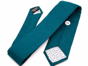 Le Coq en Pap' - Cravate bleu canard unie en lin