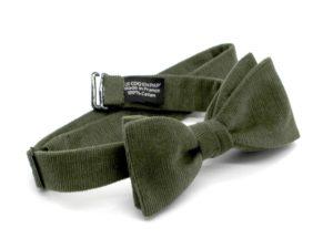 Le Coq en Pap' - Noeud papillon vert kaki uni en velours
