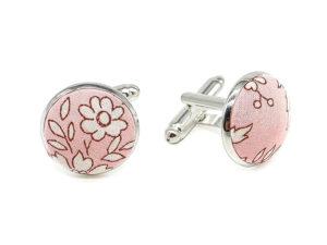 Le Coq en Pap' - Boutons de manchette rose pétale fleuri liberty capel s