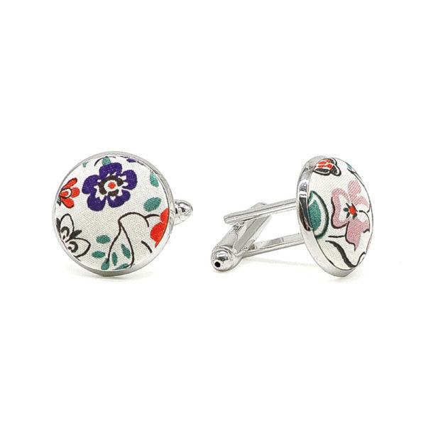 Le Coq en Pap' - Boutons de manchette fleuri liberty silver bells