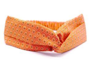 Le Coq en Pap' - Bandeau turban orange tangerine japonais saki