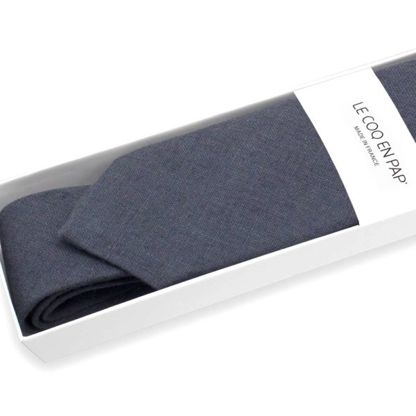 Le Coq en Pap' - Cravate noir carbone unie en lin