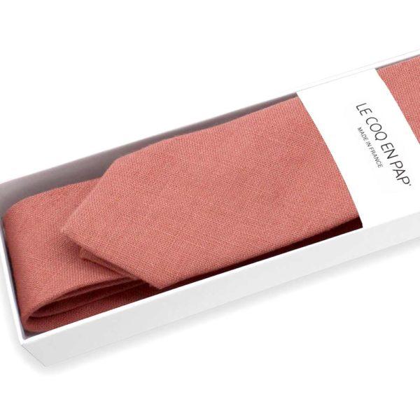 Le Coq en Pap' - Cravate vieux rose unie en lin