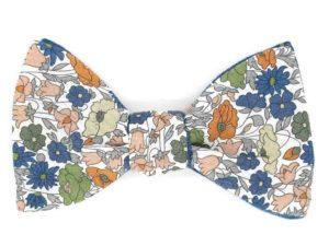 Le Coq en Pap' - Noeud papillon fleuri liberty poppy forest b
