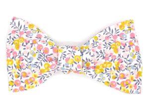 Le Coq en Pap' - Noeud papillon fleuri liberty wiltshire bud aurore a