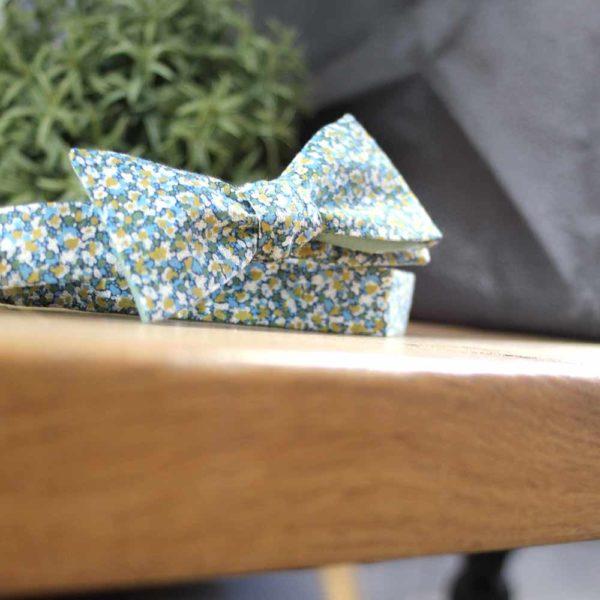 Le Coq en Pap' - Noeud papillon fleuri liberty pepper t