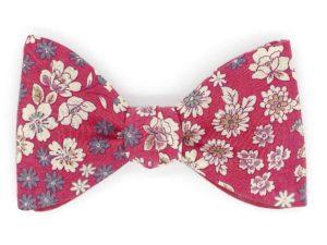 Le Coq en Pap' - Noeud papillon rouge framboise fleuri frou-frou