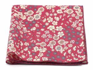 Le Coq en Pap' - Pochette de costume rouge framboise fleuri frou-frou