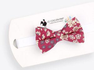 Le Coq en Pap' - Noeud papillon enfant rouge framboise fleuri frou frou
