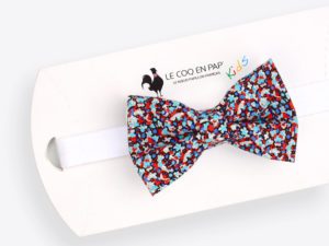 Le Coq en Pap' - Noeud papillon enfant fleuri liberty pepper j