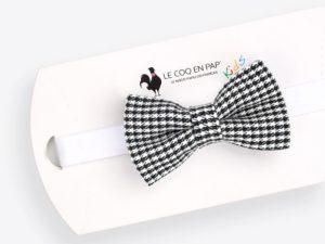 Le Coq en Pap' - Noeud papillon enfant noir et blanc pied de poule flanelle