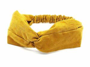 Le Coq en Pap' - Bandeau turban jaune miel uni en velours