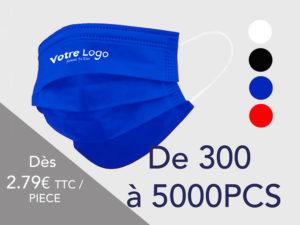 Le Coq en Pap' - Masques imprimés logo (70 LAVAGES) - de 300 à 5000pcs LIVRAISON OFFERTE