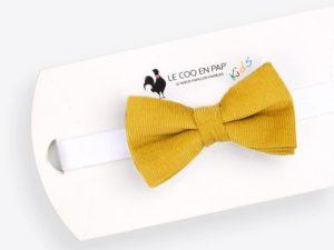 Le Coq en Pap' - Noeud papillon enfant jaune miel uni en velours