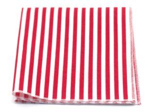 Le Coq en Pap' - Pochette de costume rouge et blanc rayée