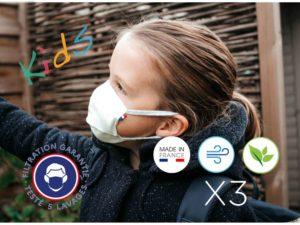 """Le Coq en Pap' - Masques ENFANT lavables Catégorie 2 """"UNS2"""" (lot de 3)"""