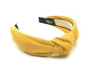 Le Coq en Pap' - Serre tête jaune moutarde uni en lin
