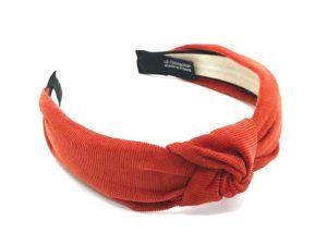 Le Coq en Pap' - Serre tête rouge brique uni en velours