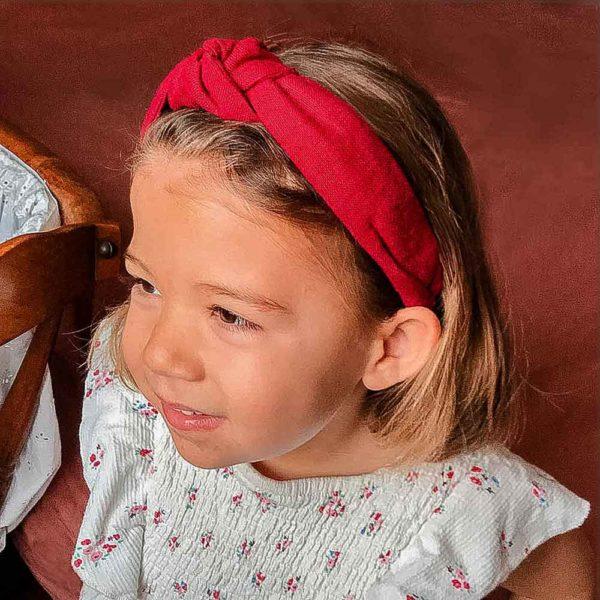 Le Coq en Pap' - Serre tête rouge grenat uni en lin