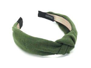 Le Coq en Pap' - Serre tête vert kaki uni en lin