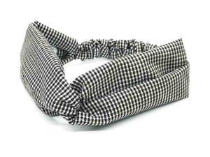Le Coq en Pap' - Bandeau turban noir et blanc pied de poule flanelle